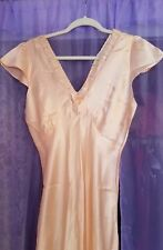 1930s PINK SILK BIAS CUT NIGHTGOWN WITH RIBBON AND  LACE. 27 Waist Sz 36