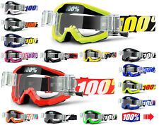 2018 100% PERCENT STRATA MOTOCROSS GOGGLES with GSO ROLL OFF CANISTERS mx mtb