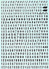Startnummern Zahlen schwarz Start Numbers black 3,2 x 3,8 mm 1:43 Decal Abziehbi