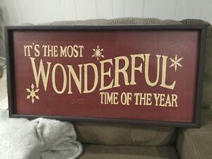 Pottery Barn It's the Most Wonderful Time of the Year Sign - Red Christmas NEW
