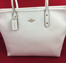 New Coach F58846 Crossgain Leather City Zip Tote Handbag Purse Bag Chalk White