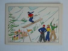carte d'envoi Gravure ancienne coloriée au pochoir signée Marcel Bloch c.1930