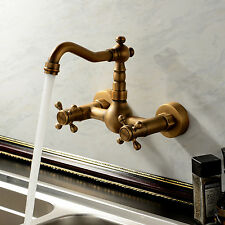 Antique Double Handle Wall Mount Kitchen Faucet Mixer Tap Brass Finish
