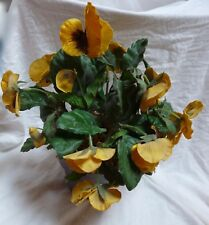 """Artificial 10"""" Yellow Purple Pansies in Painted Clay Pot"""