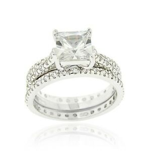 Sterling Silver Square CZ Engagement & Bridal Wedding Ring Set