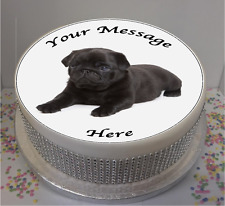 "Novelty Personalised Black Pug Puppy 7.5"" Edible Icing Cake Topper birthday"