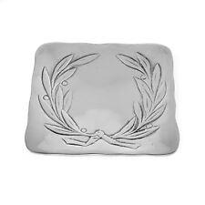 Square Decorative Plate, Handmade of Aluminum, Olive Wreath Design, 6.7''x6.7''