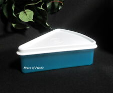 Tupperware New Individual Pie Wedge Storage Container Blue with White Seal
