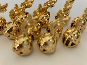 Lego headgear chrome gold parts for minifigs (Lego Custom) with plume
