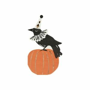 Halloween Pumpkin & Crow Napkins | Childrens Partyware Table Decorations x 16