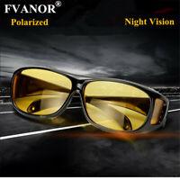 HD Night Vision Driving Glasses Sunglasses Anti Glare Over Wrap Around Eyewear