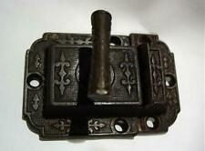 Victorian Eastlake Cast Iron & Brass Cupboard Door Latch Set Dated 1870