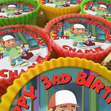 HANDY MANNY PERSONALISED CUPCAKE TOPPERS 12 PRE-CUT EDIBLE IMAGES