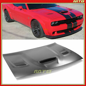 Hellcat Scat Pack Style Aluminum Hood For Dodge Challenger 2008-2021 With Scoop
