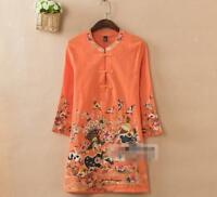 Women Chic Retro Linen Mandarin Embroidered 3/4 Sleeve Tunic Top Blouse Shirt