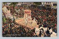 New Orleans LA, Mardi Gras Pageant Rex Parade, Linen Vintage Louisiana Postcard