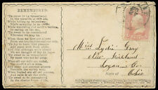 """""""Remember"""" Civil War Patriotic Verse cover 3¢ #65 to New Richland OH"""
