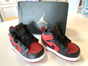 Nike Air Jordan 1 Retro Mid TD 'Gym Red' Size 4C Baby Toddler Sneakers Shoes