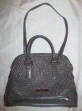 IVANKA TRUMP AVA gray vegan dome satchel stitch accnet shoulder bag NWOT