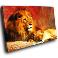 A039 Red Yellow Lion Brown Abstract Animal Canvas Wall Art Large Picture Prints