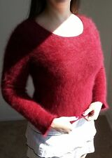 73% ANGORA Sweater! Furry Fuzzy Soft! Red Between 70% & 80% Similar to Express!