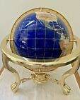 """Globe Blue Lapis 10"""" inches Gemstone Globe on Gold Brass Table Top Stand"""