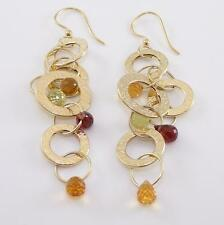 Solid 14K Yellow Gold Italy Garnet Citrine Round Circle Hoop Dangle Earrings ZQ2
