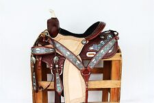"15"" Black Skull leather Handmade western Horse Trail Pleasure Barrel show Saddle"