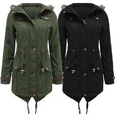 Zip Knee Length Fleece Patternless Coats & Jackets for Women
