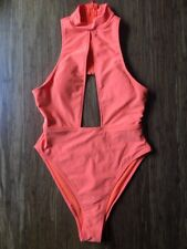 Forever 21 Neon Orange Cut Out Bodysuit Bathing Suit One Piece Small