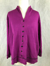 Brewsters 1XXL Ladies purple cotton jumper with decorative buttons