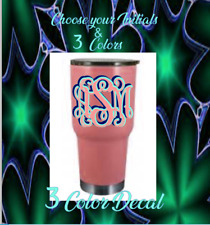 """Monogram Vinyl Decal Sticker For Your Tumblers Ramblers, Cups 3""""  (3) Colors"""