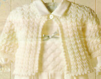 "Beautiful Textured Baby  DK Matinee Coat Picot Edge 16"" - 20"" Knitting Pattern"