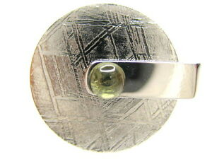 Sz 11 GIBEON IRON NICKEL METEORITE MOVABLE DISC MOLDAVITE STERLING SILVER RING