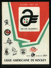 1967-68, QUEBEC ACES vs BUFFALO BISONS, AMERICAN HOCKEY LEAGUE GUIDE PROGRAM