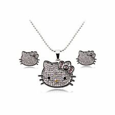 3495a2a80 Hello Kitty Necklace Earrings & Ring Jewelry Set Silver Plated Girls Women  Charm