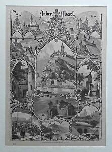 Mosel, Cochem, Gondorf u.a. Souvenierblatt Geissler - Stich, Holzstich - um 1885