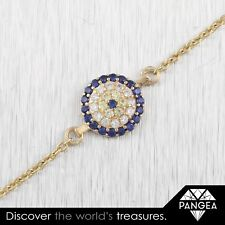 Estate 14k Yellow Gold CZ 0.36ctw Yellow & Blue Sapphire Evil Eye Bracelet 7.25""