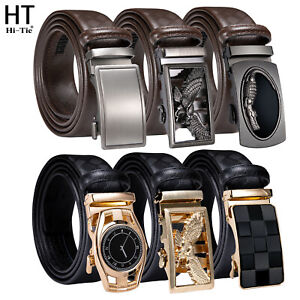 Hi-Tie Black Real Leather Mens Belts Automatic Buckles 35mm Brown Ratchet Straps