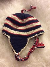 NWOT Hand Knit Wool Red White and Blue Patriotic Striped Hat Skiing