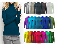 WOMENS LADIES LONG SLEEVE POLO NECK TOP WOMENS TURTLE NECK T SHIRT  JUMPER 8-26