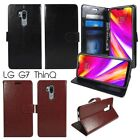 For LG G7 ThinQ PU Leather Wallet Case Cover Card Holder Stand Strap Black Brown