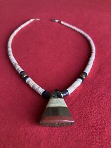 Antique Vintage Native Santo Domingo Pueblo Inlay Heishi Necklace , Lovely