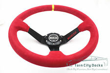 Universal 350mm Suede Deep Dish Steering Wheel Fits  SPARC  BOSS KIT red