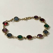 SWAROVSKI Vintage Multi-Color Crystal Bezel Set Bracelet Swan Signed 7.5""