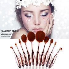 Professional 10Pcs Rose Gold Oval Mastery Toothbrush Makeup Brush Set