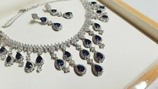 White gold finish pearcut blue sapphire and created diamond droplet necklace set