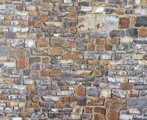 Dolls House Embossed Old Stone Wall Exterior DIY Card Sheet 1:12 Scale