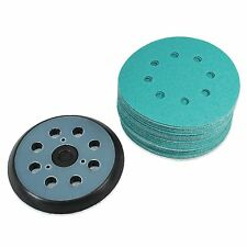 """(40 Pack) 5"""" 8 Hole 80 Grit Sanding Disc Paper with 5"""" 8 Hole Hook and Loop Pad"""