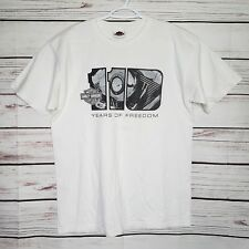 Harley Davidson Motor Cycles 110th Anniversary White T-Shirt Size Large Cool -E1